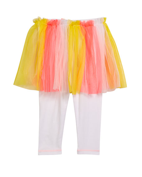 Leggings w/ Attached Multicolored Tulle Skirt, Size 12M-3