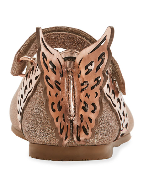 Evangeline Glittered Butterfly-Wing Flats, Toddler