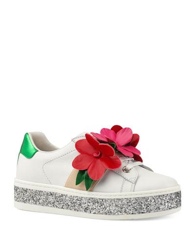 3e9c0b009b New Ace Glitter Platform Flower Sneakers Toddler/Kids Quick Look. Gucci