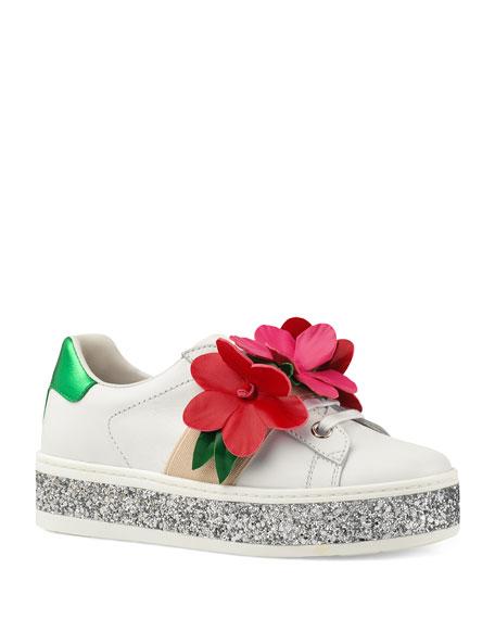 a80952328e225 Gucci New Ace Glitter Platform Flower Sneakers