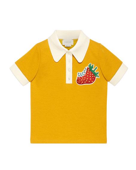 Logo Strawberry Patch Polo Shirt, Size 4-12