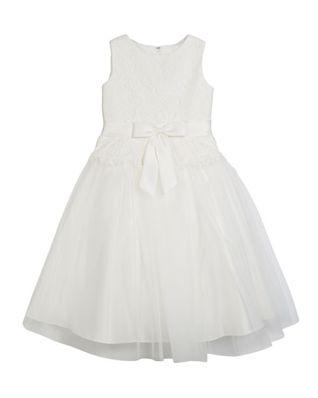 Image 1 of 1: Lace Bodice & Tulle Skirt Tea-Length Dress, Size 2-14