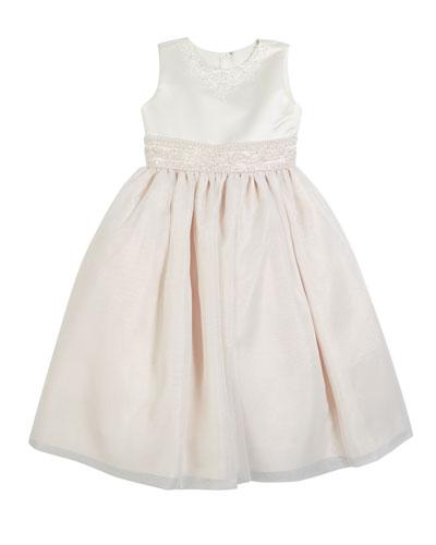 Satin & Organza Beaded Dress  Size 2-14
