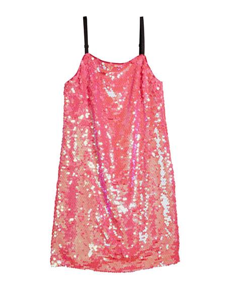 Chelsea Paillettes Spaghetti-Strap Dress, Size 7-16