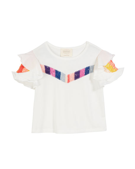 Image 1 of 1: Sequin Stripe Ruffle-Sleeves Top, Size 4-6