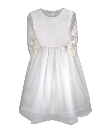 Lovely Tulle Lace-Sleeves Dress  Size 6-8