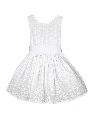 Floral Embroidered V-Back Loops Dress  Size 2-6