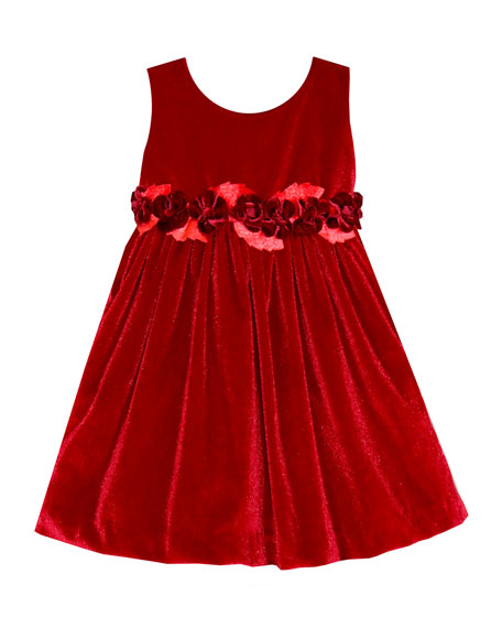 Image 1 of 1: Sleeveless Velvet Holiday Dress w/ Rose Detailing, Size 7-10