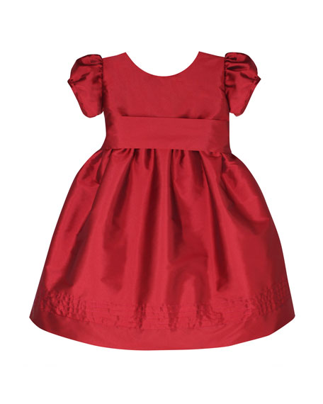 Timeless Taffeta Puffy-Sleeve Dress, Size 2-4T
