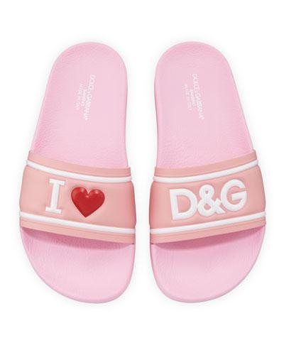 Leather I Heart D&G Pool Slide Sandals  Kids