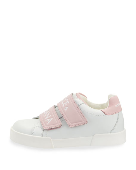 Double-Strap Two-Tone Leather Logo Sneakers, Toddler/Kids