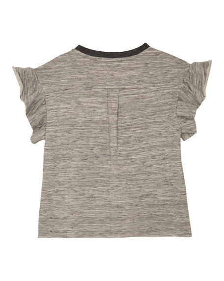Mona Ruffle-Sleeve Knit Top, Size S-L