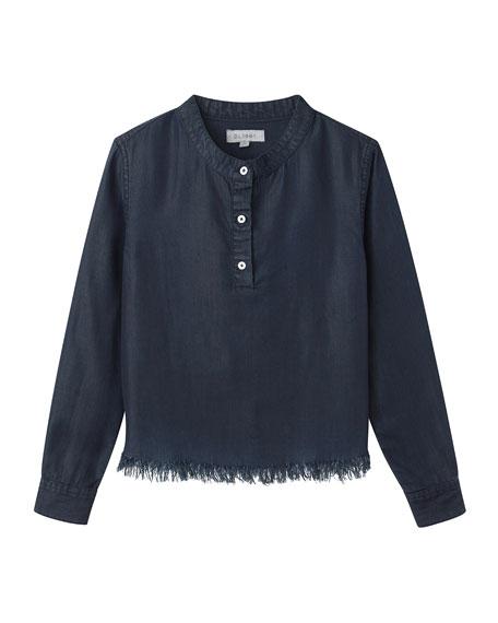Frayed-Hem Long-Sleeve Top, Size 7-16
