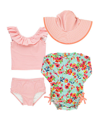 Painted Flowers & Striped 4-Piece Swim Layette Set  Size 3-24 Months