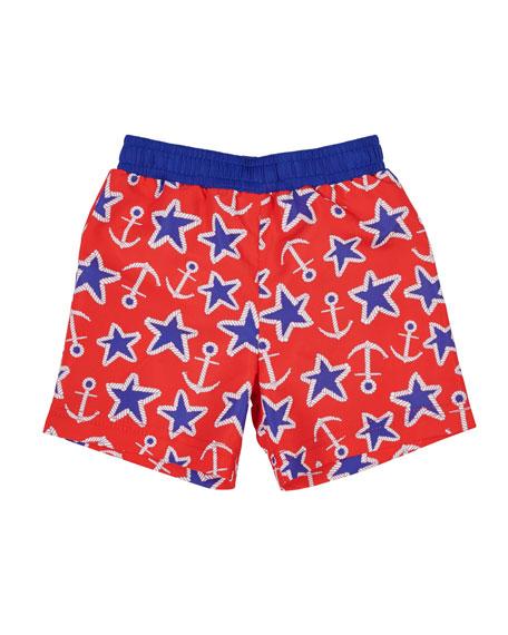 Anchor Star-Print Swim Trunks, Size 6-24 months