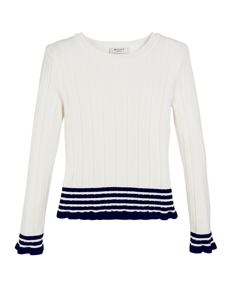 Image 1 of 1: Ribbed Striped-Trim Sweater, Size 7-16