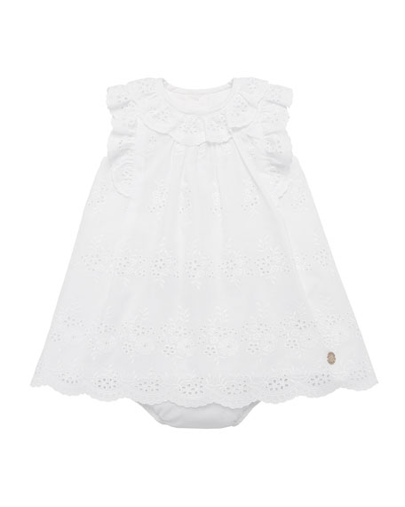 Ruffle-Trim Eyelet Dress w/ Bloomers, Size 12M-3