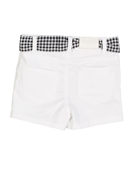 Twill Flower Embroidered Shorts w/ Gingham Sash, Size 12-36 Months