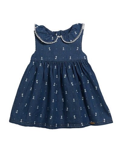 Chambray Giraffe-Print Dress  Size 2-12 Months
