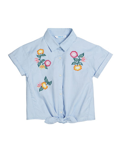 Oxford Embroidered Flower Shirt  Size 8-16