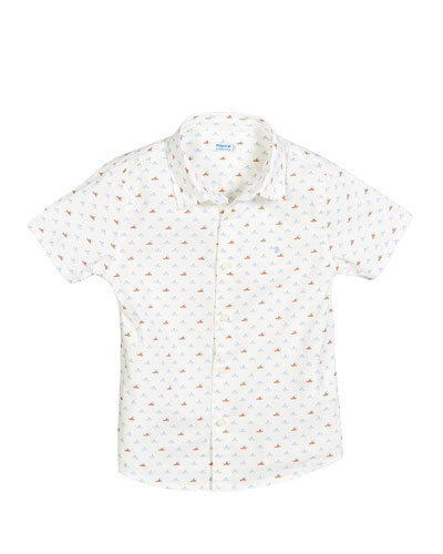 Boat Print Collared Shirt  Size 12-36 Months