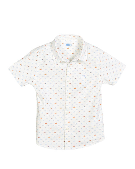 Boat Print Collared Shirt, Size 12-36 Months