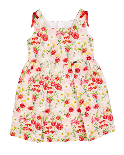 Floral-Printed Pleated Sun Dress  Size 12-36 Months