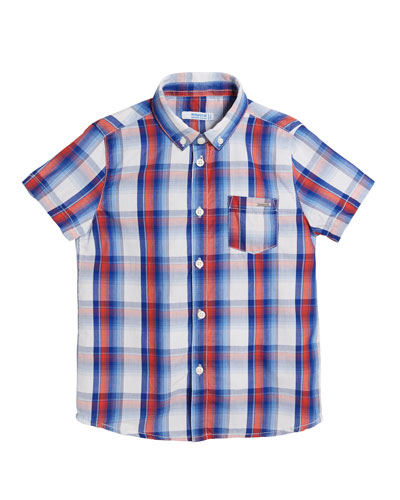 Short-Sleeve Plaid Shirt  Size 4-7