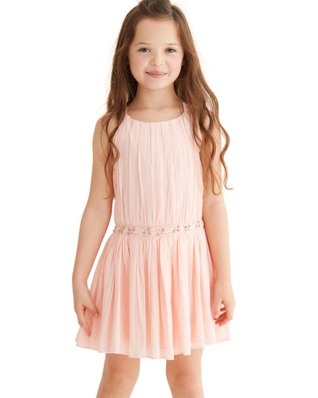 Andrea Pleated Party Dress w/ Embellished Waist, Size 4-6