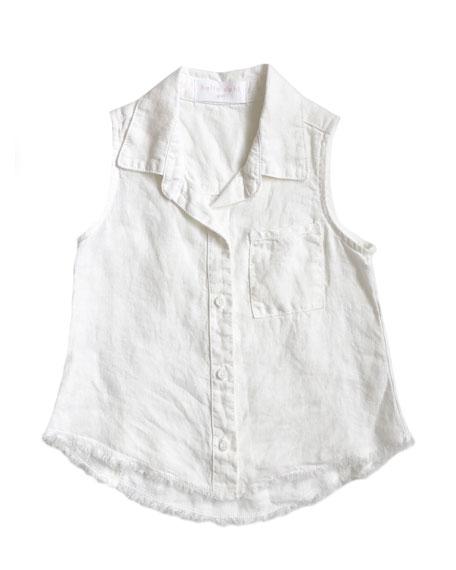 Frayed Hem Sleeveless Collared Shirt, Size 8-14