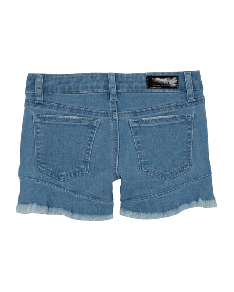 Girls' The Aria Ruffle-Hem Denim Shorts, Size 7-14