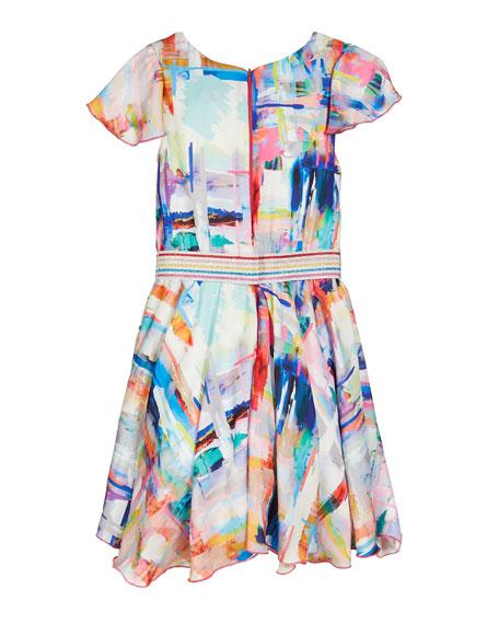 Watercolor Sateen Flounce Hem Swing Dress, Size 4-6X