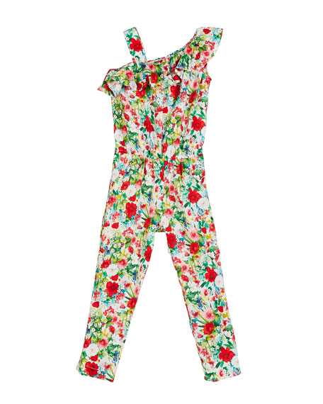 Image 1 of 1: Floral-Print One-Shoulder Jumpsuit, Size 4-7
