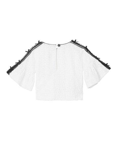 Anca Lace Embroidered Fluted Sleeve Top, Size 3-14