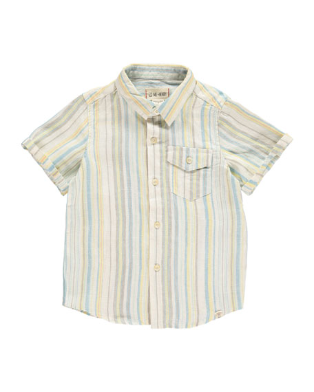 Stripe Woven Collared Shirt, Size 2T-10