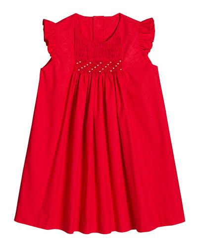 Ruffle-Sleeve Smocked Dress  Size 2-4T