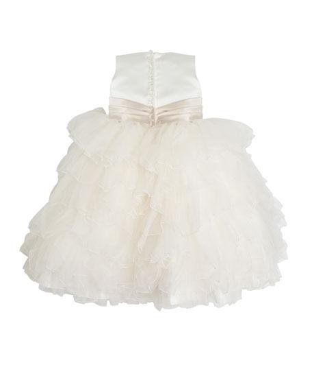 Satin Dress w/ Tulle Ruffle Skirt, Size 2-7