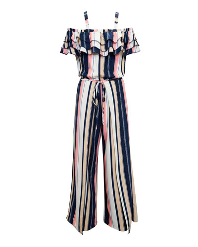 Multi-Stripe Off-the-Shoulder Jumpsuit  Size 7-16