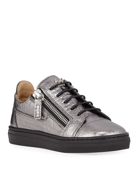 Image 1 of 1: London Metallic Embossed Leather Low-Top Sneakers, Baby/Toddler