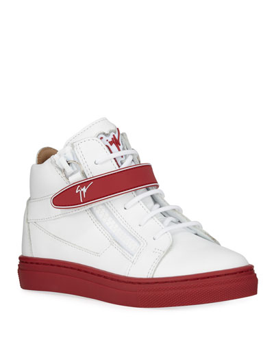 London Leather Grip-Strap High-Top Sneakers  Toddler/Kids