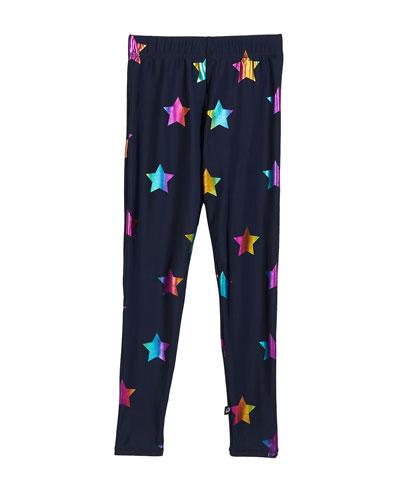 Rainbow Star Foil Printed Leggings  Size 7-16