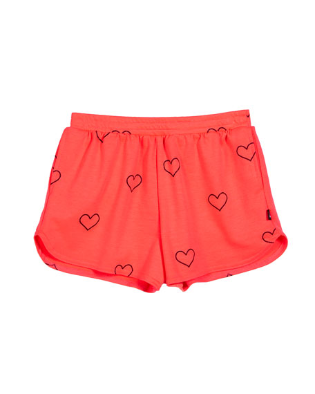 Image 1 of 1: Outline Hearts Foil-Print Shorts, Size 7-16