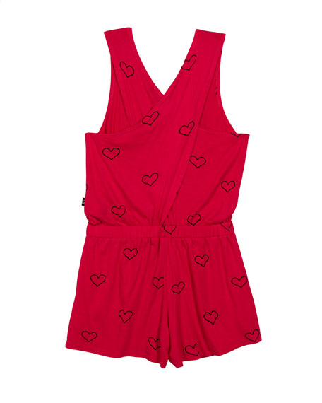 Outline Hearts Foil-Print Romper, Size 7-16