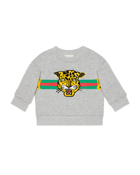 Image 1 of 1: Boys' Cat Graphic Crewneck Sweatshirt, Size 12-36 Months