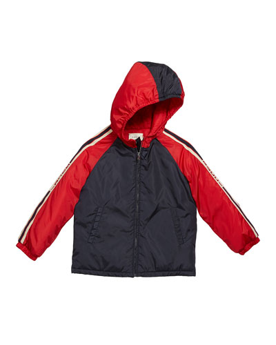 Boy's Colorblock Hooded Jacket w/ Logo Taping  Size 12-36 Months