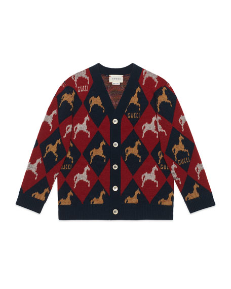 Wool Argyle Cardigan Sweater w/ Horse Intarsia, Size 4-12