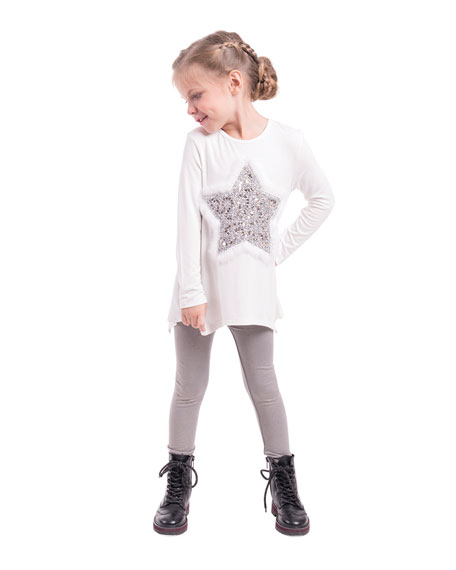 Jersey-Stretch Tunic w/ Faux-Fur & Sequin Star Patches, Size 4-6