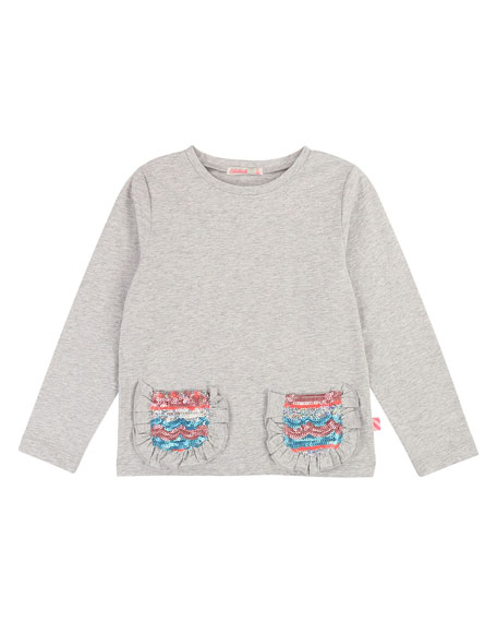 Long-Sleeve Tee w/ Ruffle & Sequin Pockets, Size 4-12
