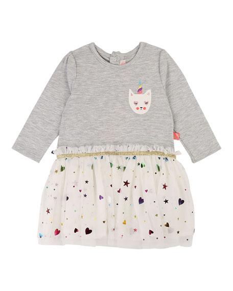 Jersey & Tulle Long-Sleeve Dress, Size 12M-3