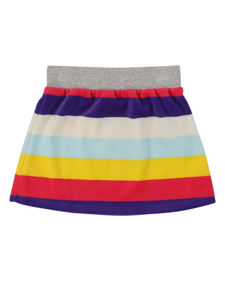 Striped Velour Skirt, Size 4-12